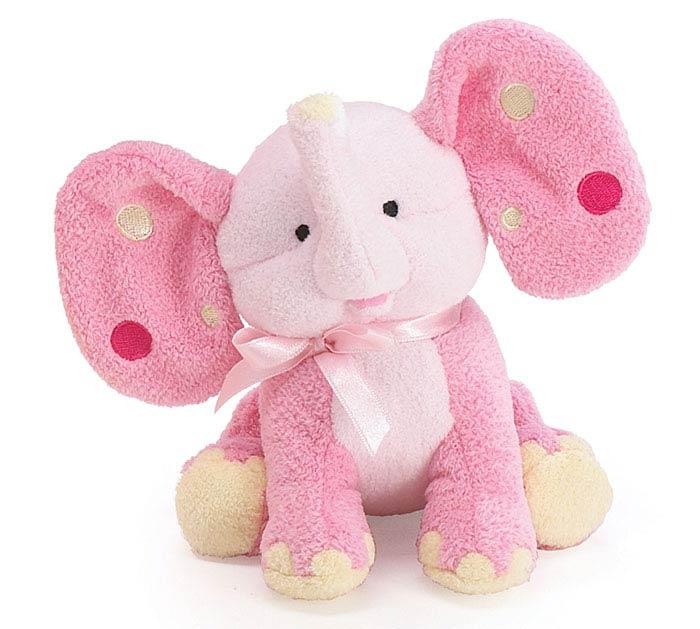 PLUSH PINK ELEPHANT WITH POLKA DOT EARS