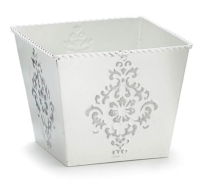 "4"" WHITE EMBOSSED TIN PLANTER"