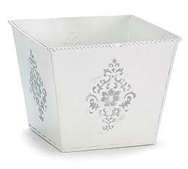 "6"" WHITE EMBOSSED TIN PLANTER"