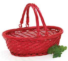 RED OVAL WILLOW BASKET W/ FOLDING HANDLE