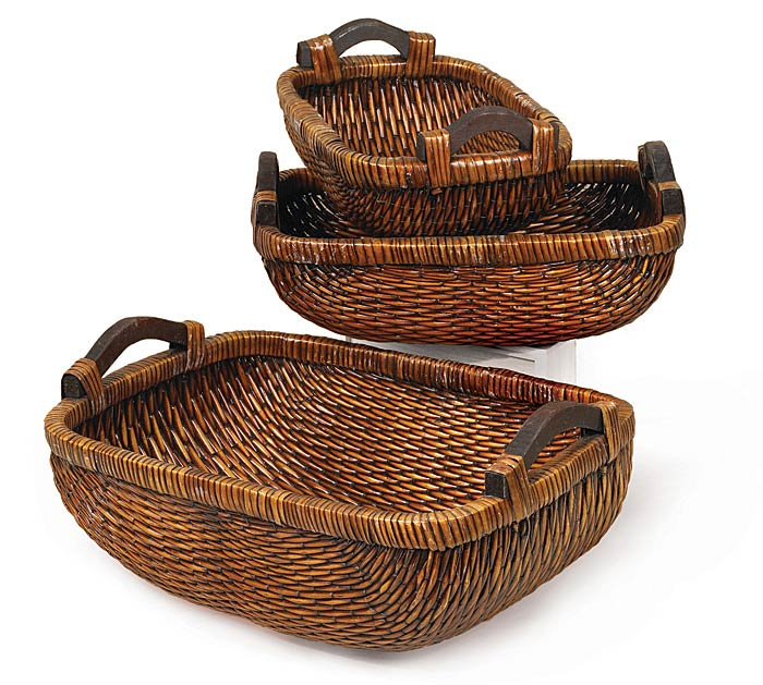 LONG WILLOW BASKET SET WITH HANDLES