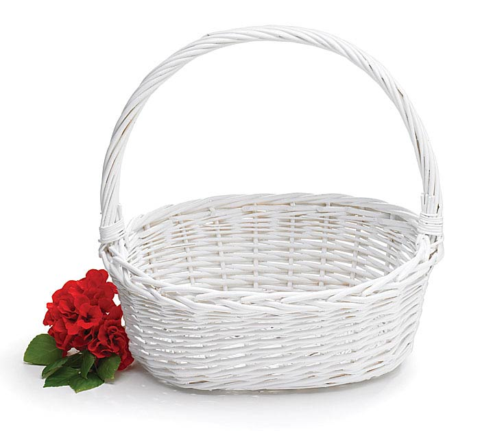 White oval willow basket with handle mightylinksfo