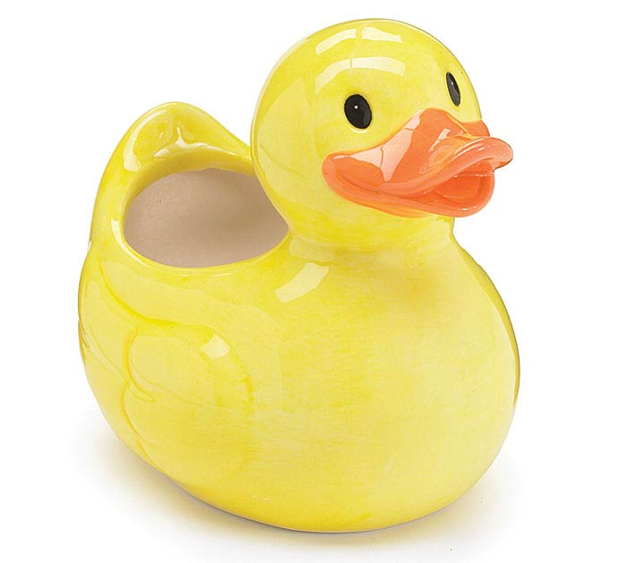 YELLOW DUCK CERAMIC PLANTER