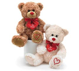 PLUSH WHITE / BROWN VALENTINE BEAR PAIR