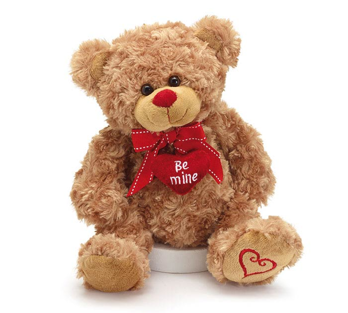 "PLUSH 10"" BROWN BEAR WITH HEART PILLOWS"