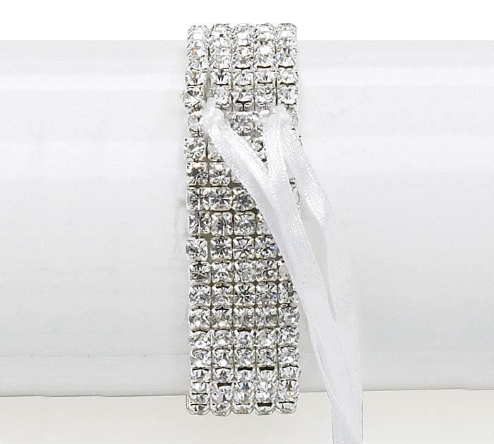 75 Silver Rhinestone Corsage Bracelet