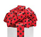 #9 BLACK DOTS ON RED WIRED RIBBON