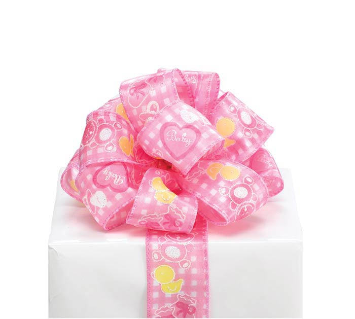 #9 BABY GIRL PINK WIRED SATIN RIBBON