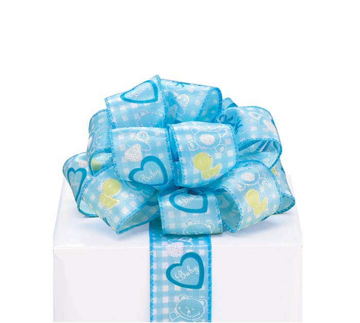 #9 BABY BOY GINGHAM WIRED SATIN RIBBON