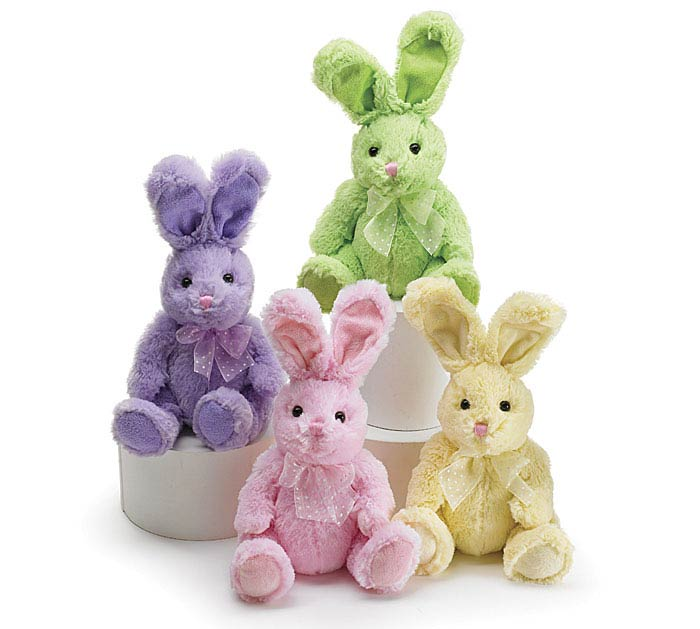 PLUSH SPRING COLORS BUNNY SET