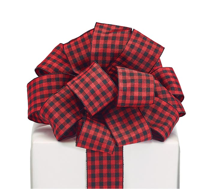 #9 RED/BLACK PLAID WIRED RIBBON