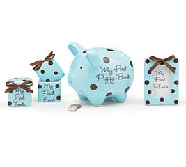 BABY BOY BLUE/BROWN DOTS GIFT SET