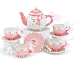 PINK BALLET SHOES MINI PORCELAIN TEA SET