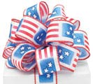 #9 PATRIOTIC FLAG WIRED SATIN RIBBON