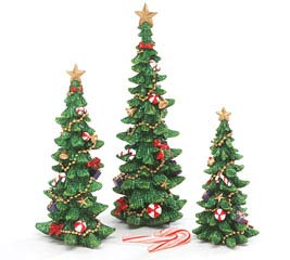 DECORATED RESIN CHRISTMAS TREE SET