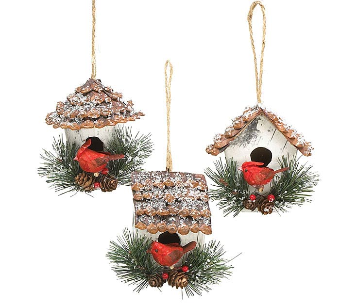 FROSTED BIRDHOUSE/CARDINAL ORNAMENT SET