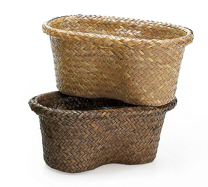 "4"" LIGHT/DARK PEANUT SHAPED REED BASKET"