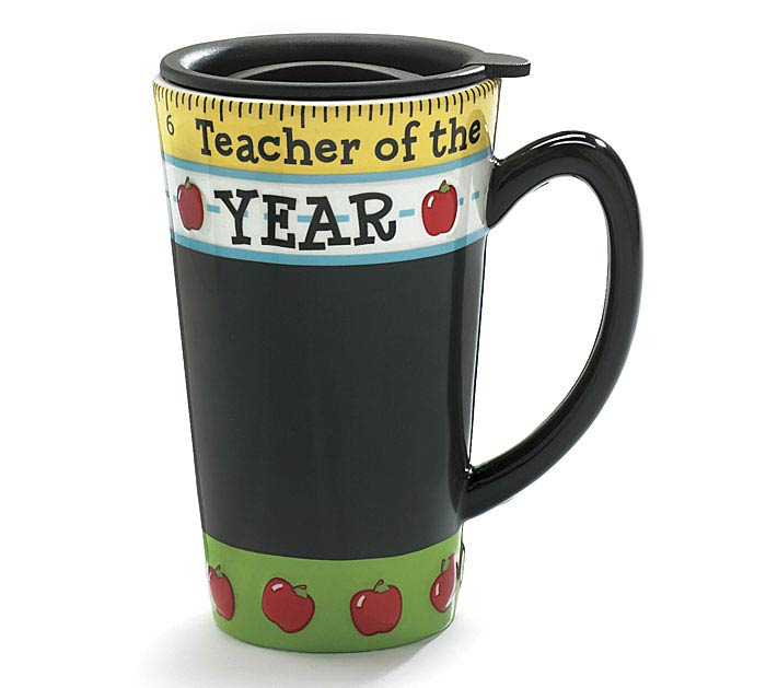 TEACHER OF THE YEAR CERAMIC TRAVEL MUG