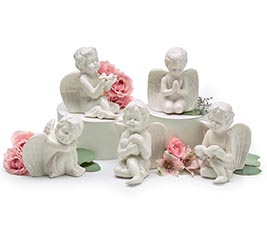 5 PIECE WHITE PORCELAIN ANGEL SET