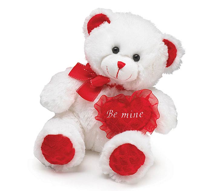 PLUSH WHITE/RED BE MINE VALENTINE BEAR