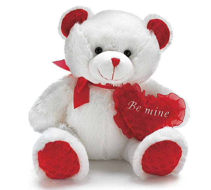PLUSH WHITE/RED BE MINE VALENTINE BEAR