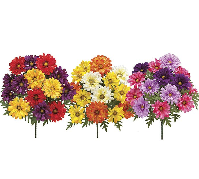SILK ZINNIA BUSH ASSORTMENT