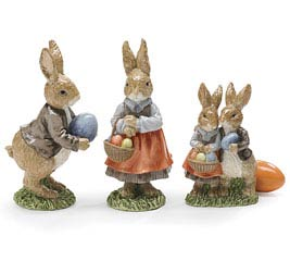 PAINTED RESIN RABBIT FAMILY FIGURINE SET