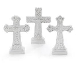 WHITE CERAMIC CROSS SET