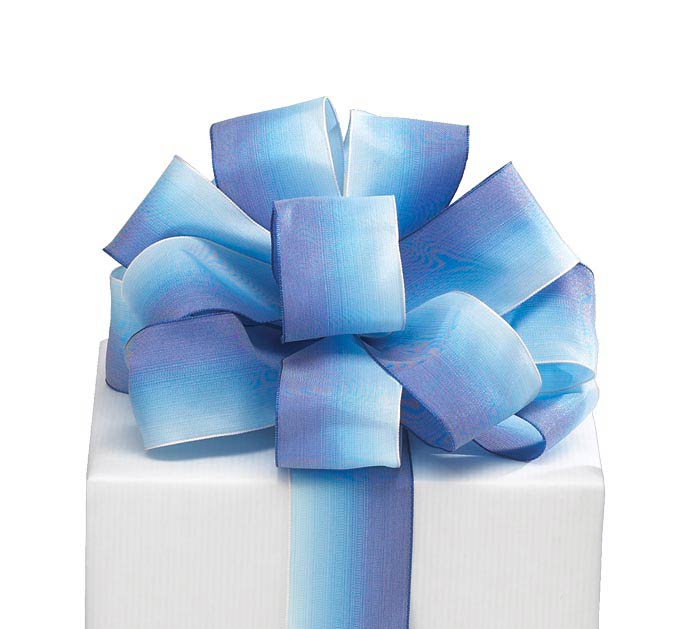#9 BLUE SATIN WATERCOLOR WIRED RIBBON