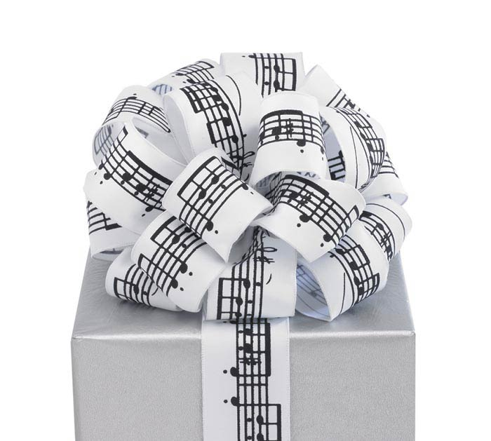 #9 SHEET MUSIC WHITE/BLACK WIRED RIBBON