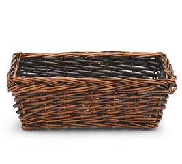 "11"" DARK STAIND RECTANGLE WILLOW BASKET"