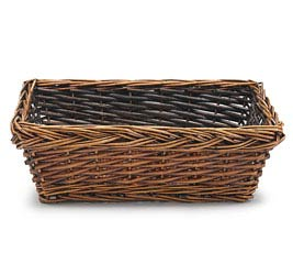 DARK STAINED RETANGLE WILLOW BASKET