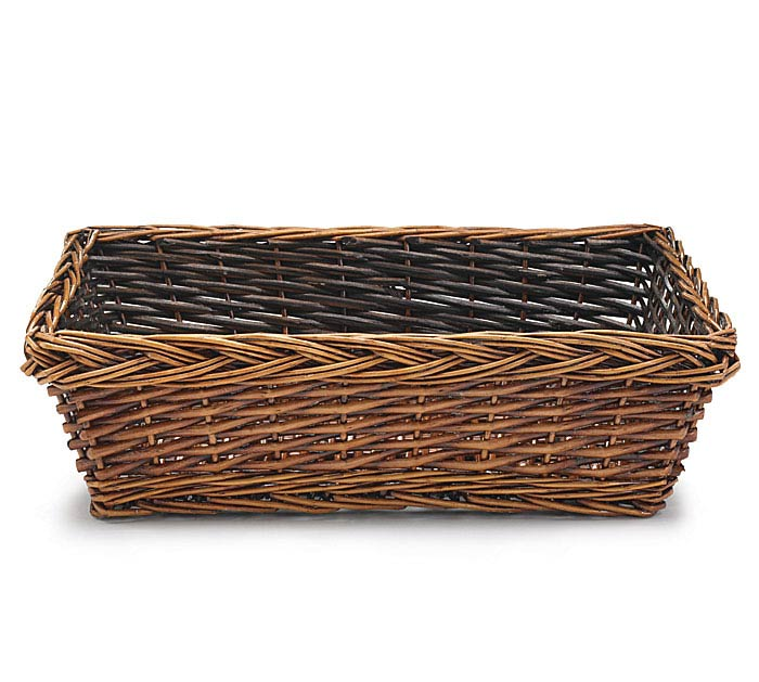 "17"" DARK STAIN RECTANGLE WILLOW BASKET"