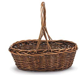 DARK STAIN OVAL WILLOW BASKET W/ HANDLE