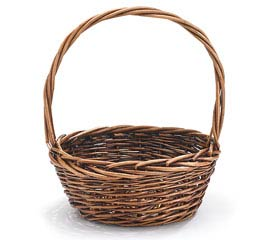 "8"" DARK STAIN WILLOW BASKET WITH HANDLE"