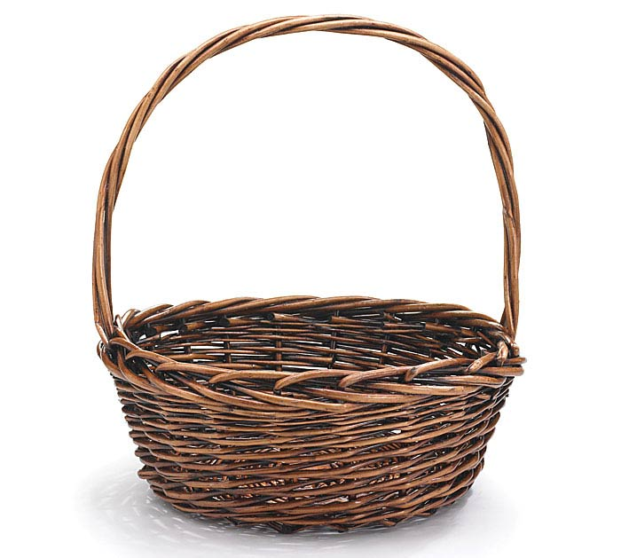 "12"" DARK STAIN WILLOW BASKET WITH HANDLE"