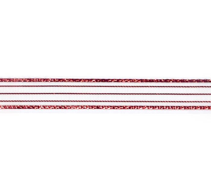 #2 SHEER RED METALLIC CORSAGE RIBBON