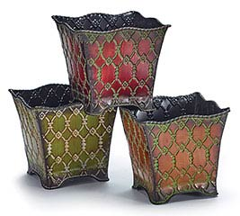 "4"" ORNATE RAISED TIN NESTED PLANTER SET"