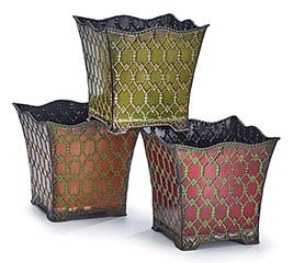 "6"" ORNATE RAISED TIN NESTED PLANTER SET"