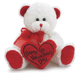 PLUSH WHITE/RED HAPPY VALENTINE'S BEAR