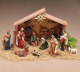 10 PIECES WITH CRECHE NATIVITY