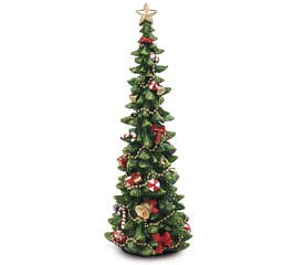 "13"" DECORATED RESIN CHRISTMAS TREE"