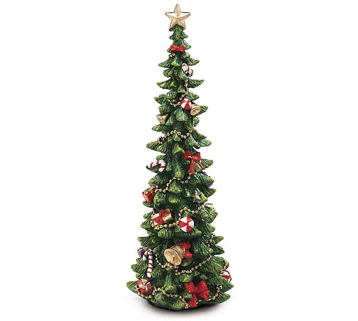 """13"""" DECORATED RESIN CHRISTMAS TREE"""