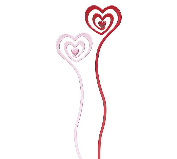 "11.75"" PLASTIC RED/PINK SWIRL HEART PICK"