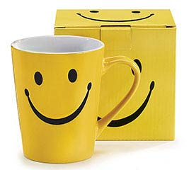 SMILEY FACE STONEWARE MUG W/ BOX