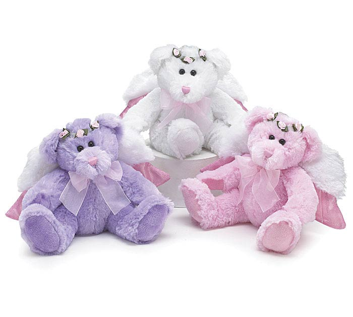 PLUSH WHITE/PINK/PURPLE ANGEL BEAR SET