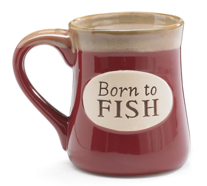 BORN TO FISH SERENITY PRAY PORCELAIN MUG