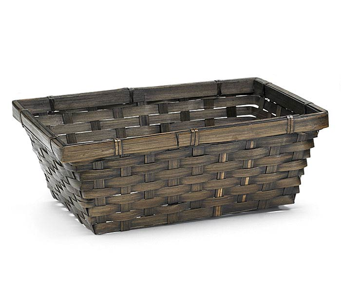 "10"" DARK STAINRECTANGLE BAMBOO BASKET"