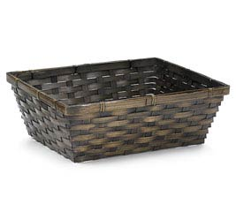 "12"" DARK STAIN RECTANGLE BAMBOO BASKET"