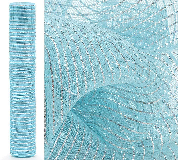 "21"" LIGHT BLUE HOLOGRAPHIC MESH ROLL"